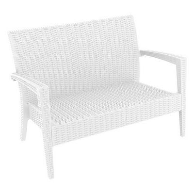 Completely new Miami Wickerlook Resin Patio Loveseat White ISP845-WH | CozyDays LJ14