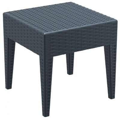 Miami Wickerlook Resin Patio Side Table Dark Gray 18 Inch