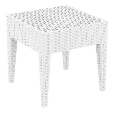 Miami Wickerlook Resin Patio Side Table White 18 inch. ISP858-WH