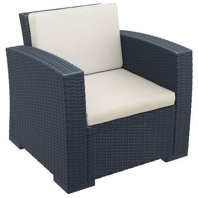Monaco Wickerlook Resin Patio Club Chair Dark Gray With