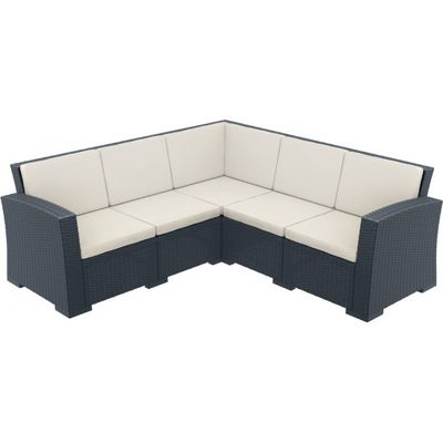 Monaco Wickerlook Resin Patio Corner Sectional 5 Piece Dark Gray with Cushion ISP834-DG-BEI