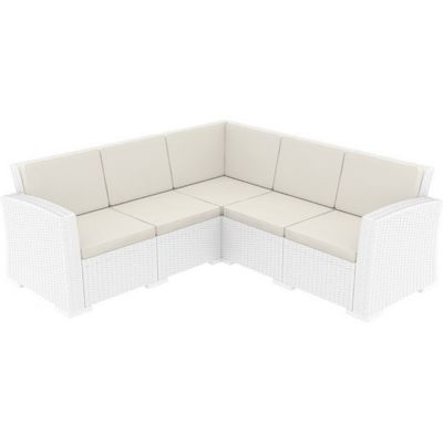 Monaco Wickerlook Resin Patio Corner Sectional 5 Piece White with Cushion ISP834-WH-BEI