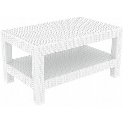 Monaco Wickerlook Resin Patio Lounge Table White ISP838-WH
