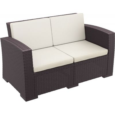 Monaco Wickerlook Resin Patio Loveseat Sofa Brown with Cushion ISP832-BR-BEI