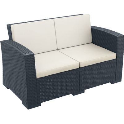 Monaco Wickerlook Resin Patio Loveseat Sofa Dark Gray With Cushion