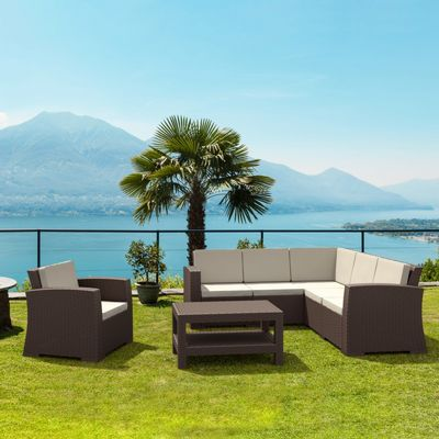 Monaco Wickerlook Resin Patio Sectional Set 7 Piece with Cushion ISP834S6-BR-BEI