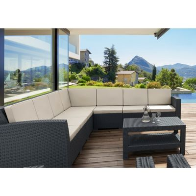 Monaco Wickerlook Resin Patio Sectional Set 8 Piece with Cushion ISP834S4-BR-BEI