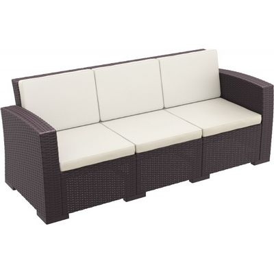 Monaco Wickerlook Resin Patio Sofa XL Brown with Cushion ISP833-BR-BEI