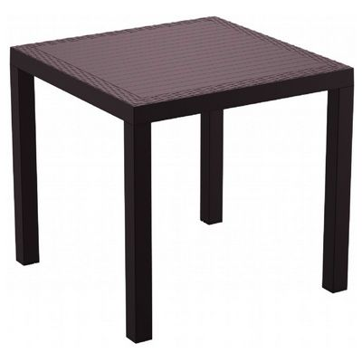 Orlando Wickerlook Resin Square Patio Dining Table Brown 31 inch. ISP875-BR