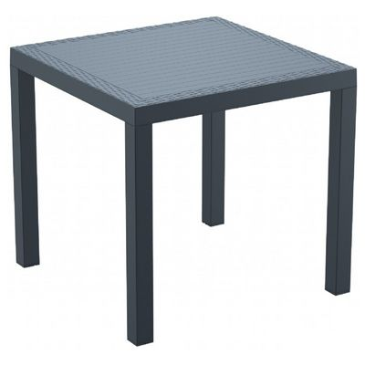 Orlando Wickerlook Resin Square Patio Dining Table Dark Gray 31 inch. ISP875-DG