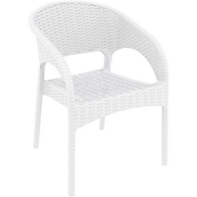 Panama Wickerlook Resin Patio Dining Armchair White ISP808-WH