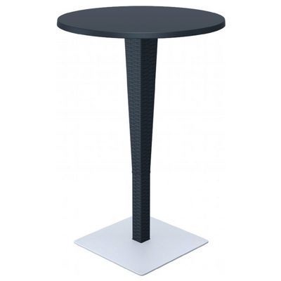 Riva Wickerlook Resin Round Bar Table Dark Gray 28 inch. ISP886-DG