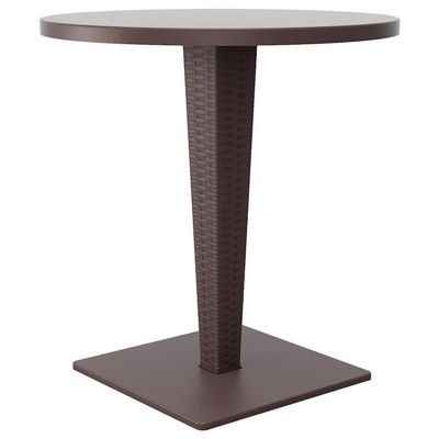 Riva Wickerlook Resin Round Patio Dining Table Brown 28 inch. ISP882-BR