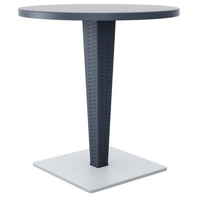 Riva Wickerlook Resin Round Patio Dining Table Gray 28 inch. ISP882