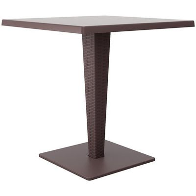Riva Wickerlook Resin Square Patio Dining Table Brown 28 inch. ISP884-BR