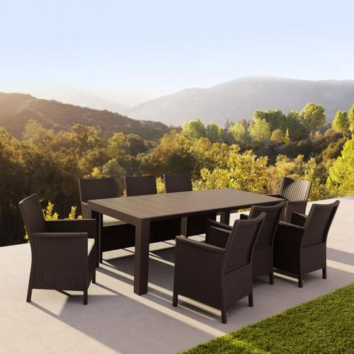 California Extendable Dining Set 9 Piece Brown ISP8066S-BR