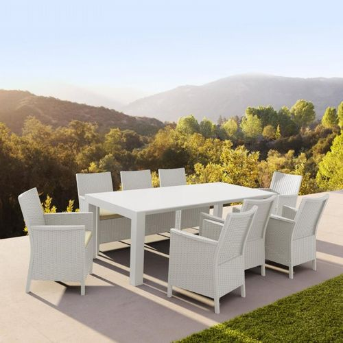California Extendable Dining Set 9 Piece White ISP8066S-WH
