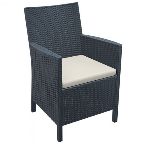 California Wickerlook Resin Patio Chair Dark Gray ISP806-DG