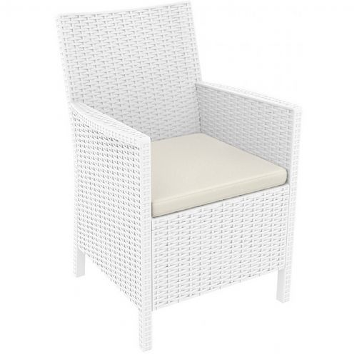 California Wickerlook Resin Patio Chair White ISP806-WH