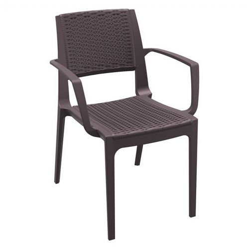 Capri Wickerlook Resin Patio Armchair Brown ISP820-BR