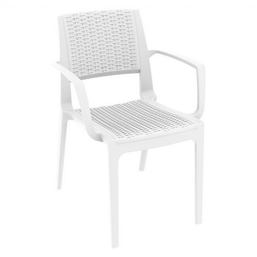Capri Wickerlook Resin Patio Armchair White ISP820-WH