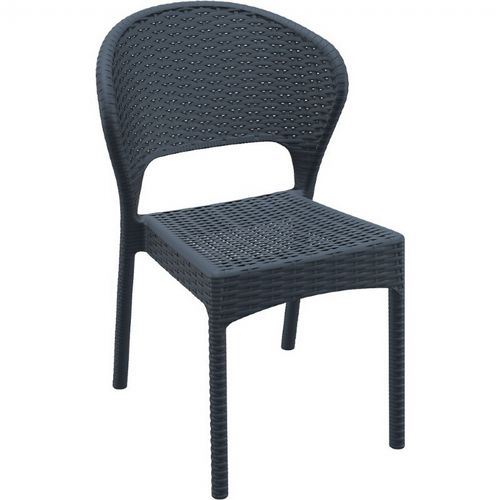 Daytona Wickerlook Resin Patio Dining Chair Dark Gray ISP818-DG