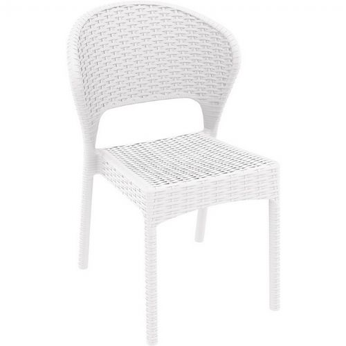 Daytona Wickerlook Resin Patio Dining Chair White ISP818-WH