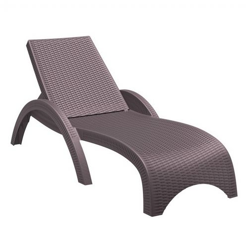 Fiji Wickerlook Resin Outdoor Chaise Lounge Brown ISP860-BR