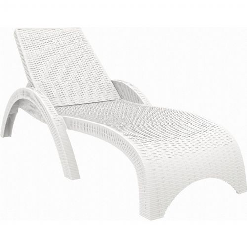 Fiji Wickerlook Resin Outdoor Chaise Lounge White Isp860