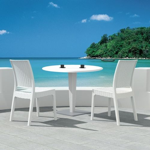 Florida Wickerlook Outdoor Resin Bistro Set White with Round Table 28 inch ISP994R-WH