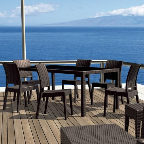 Florida Wickerlook Resin Patio Dining Set 7 Piece Rectangle Brown ISP816S6-BR