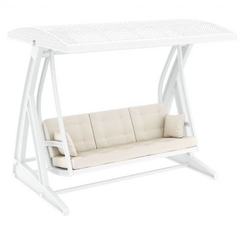 Hawaii Wickerlook Patio Swing with Sunbrella Cushions White ISP862-WH