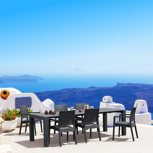 Ibiza Extendable Wickerlook Dining Set 7 piece Dark Gray ISP8101S-DG