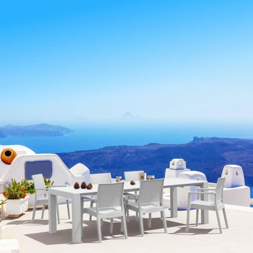 Ibiza Extendable Wickerlook Dining Set 7 piece White ISP8101S-WH