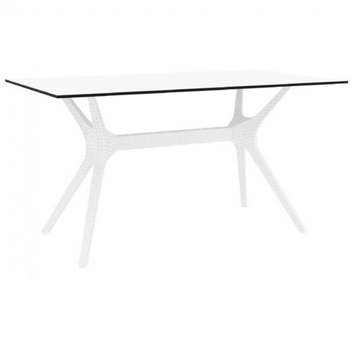 Ibiza Rectangle Outdoor Dining Table 55 inch White ISP864-WH