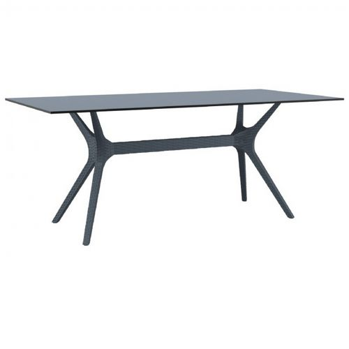 Ibiza Rectangle Outdoor Dining Table 71 inch Dark Gray ISP865-DG