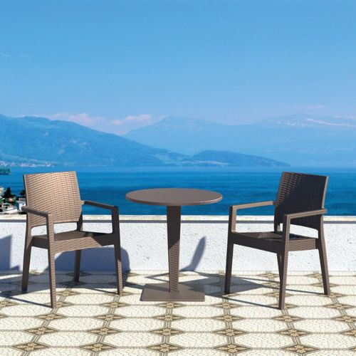Ibiza Wickerlook Outdoor Resin Bistro Set Brown with Round Table 28 inch ISP993R-BR