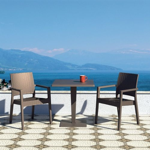 Ibiza Wickerlook Outdoor Resin Bistro Set Brown with Square Table 28 inch ISP993S-BR