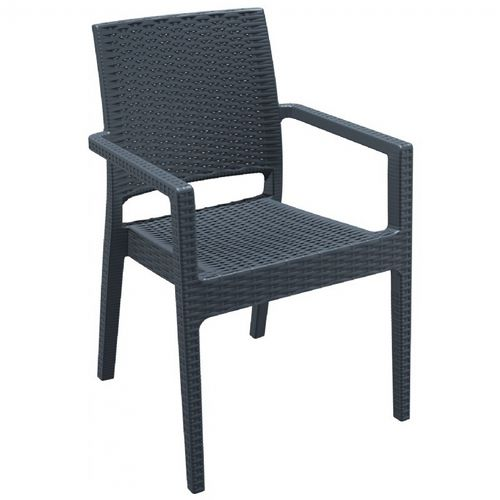 Ibiza Wickerlook Resin Patio Armchair Dark Gray ISP810-DG