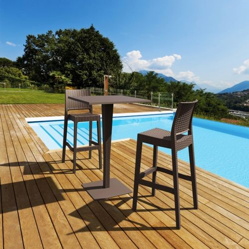 Jamaica Wickerlook Outdoor Bar Set Brown with Square Bar Table 28 inch ISP981S-BR