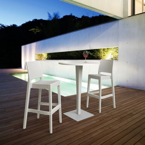 Jamaica Wickerlook Outdoor Bar Set White with Round Bar Table 28 inch ISP981R-WH