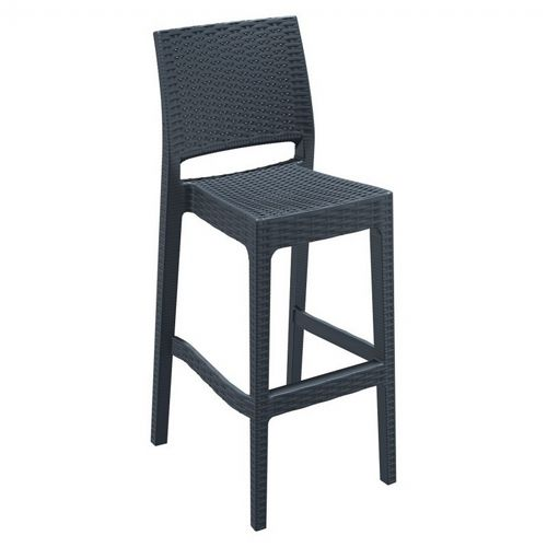 Jamaica Wickerlook Resin Bar Chair Dark Gray ISP866-DG