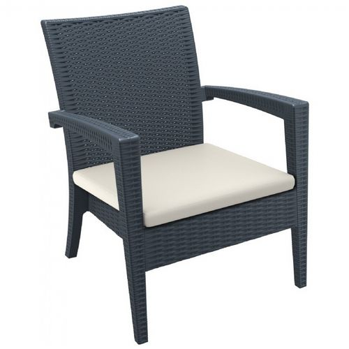 Miami Wickerlook Resin Patio Club Chair Brown with Cushion ISP850-BR