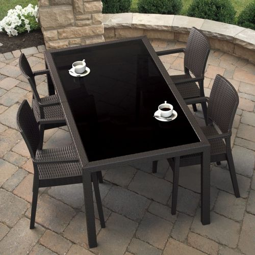 Miami Wickerlook Resin Patio Dining Set 5 Piece Rectangle Brown ISP995S-BR