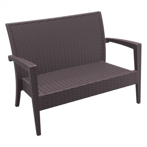 Miami Wickerlook Resin Patio Loveseat Brown ISP845-BR