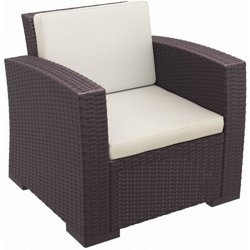 Monaco Wickerlook Resin Patio Club Chair Brown with Cushion ISP831-BR