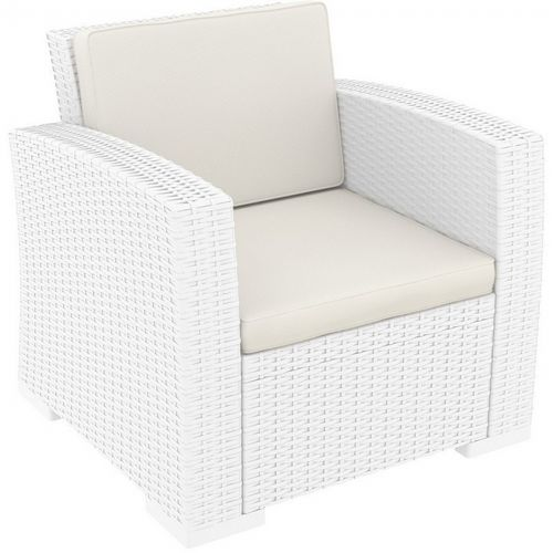 Monaco Wickerlook Resin Patio Club Chair White with Cushion ISP831-WH
