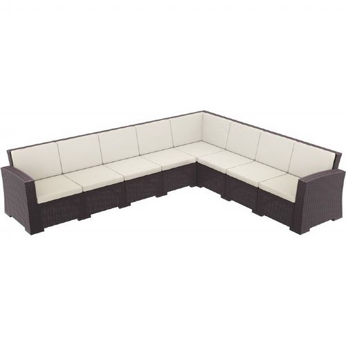 Monaco Wickerlook Resin Patio Corner Sectional 8 Piece with Cushion ISP834-8-BR