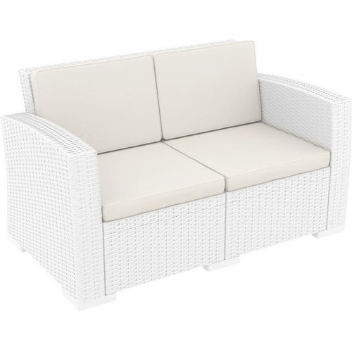 Monaco Wickerlook Resin Patio Loveseat Sofa White with Cushion ISP832-WH