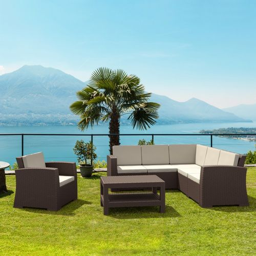 Monaco Wickerlook Resin Patio Sectional Set 7 Piece with Cushion ISP834S6-BR